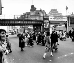 Brixton centre with railway bridge, south London. 22 Jan 1981