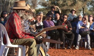 Mutitjulu elders before the opening ceremony of the national convention on constitutional recognition at Mutitjulu on 23 May.