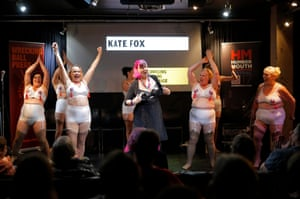Kate Fox, finishing her show at Kardomah94 with the Ruby Reds, who have appeared on Britain's Got Talent