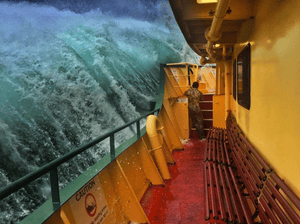 Manly ferry was swamped by a huge swell in March, leaving one passenger stranded on the outer deck, as captured on this slightly terrifying iphone picture by@ihaig72