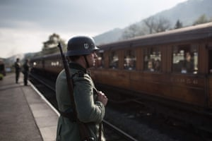 Second world war re-enactors dressed as German soldiers at the 25th Railway in Wartime event.