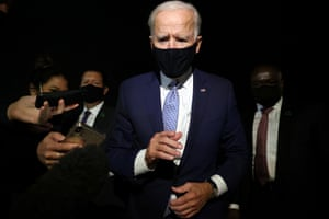 Joe Biden speaks to reporters before departing on his campaign plane in Scranton, Pennsylvania.