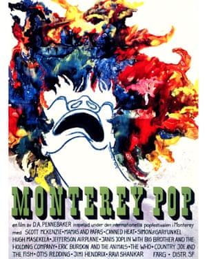 Poster for DA Pennebaker's 1967 documentary Monterey Pop, about the California music festival.
