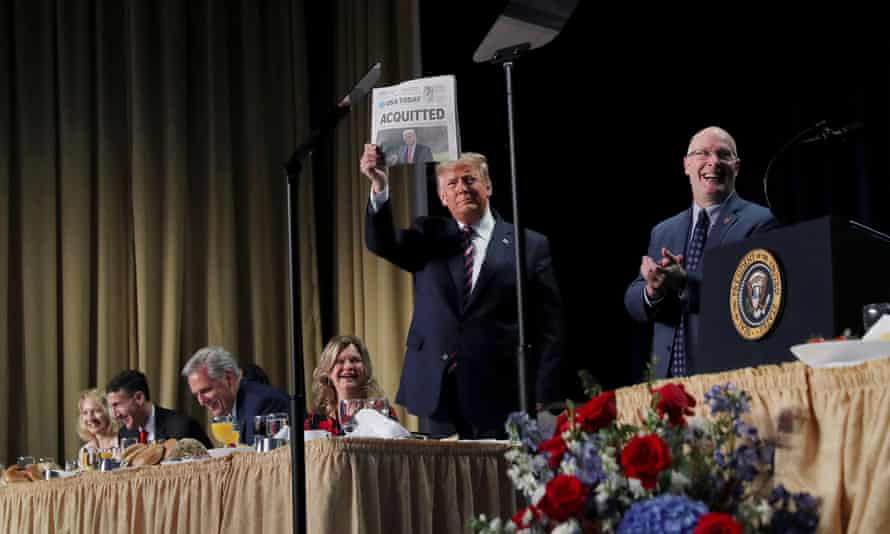 Trump addresses the National Prayer Breakfast in Washington after his impeachment acquittal.