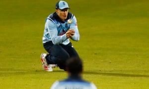 England's Tom Curran takes the catch to dismiss Australia's Glenn Maxwell.