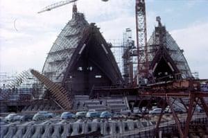 The sails under construction