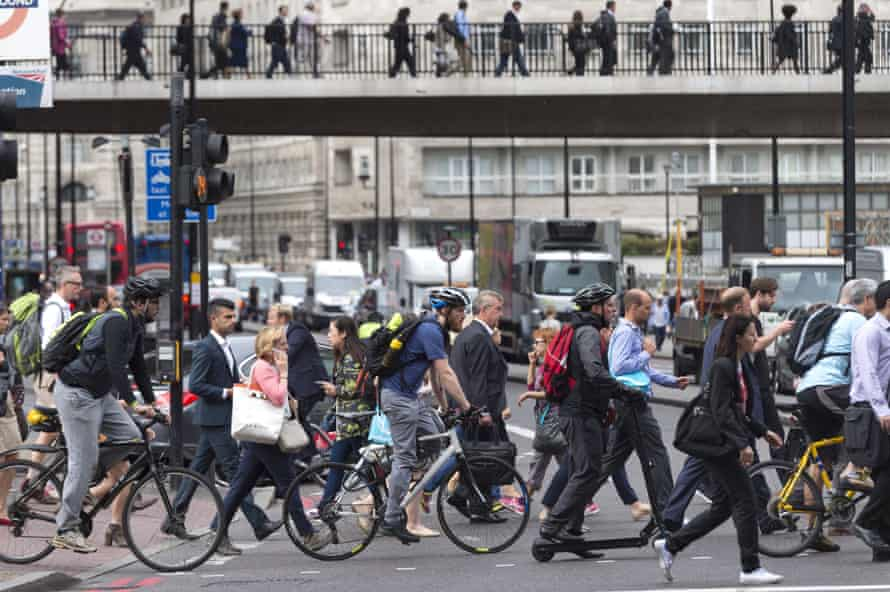 Cyclists and pedestrians during a London tube strike