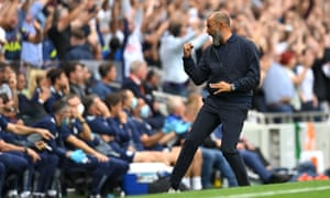Nuno Espirito Santo, Manager of Tottenham Hotspur celebrates their side's first goal scored by Heung-Min Son