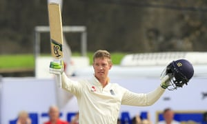 Keaton Jennings celebrates reaching his second Test century in Galle in November 2018. He has been recalled for the forthcoming two-Test series in Sri Lanka.