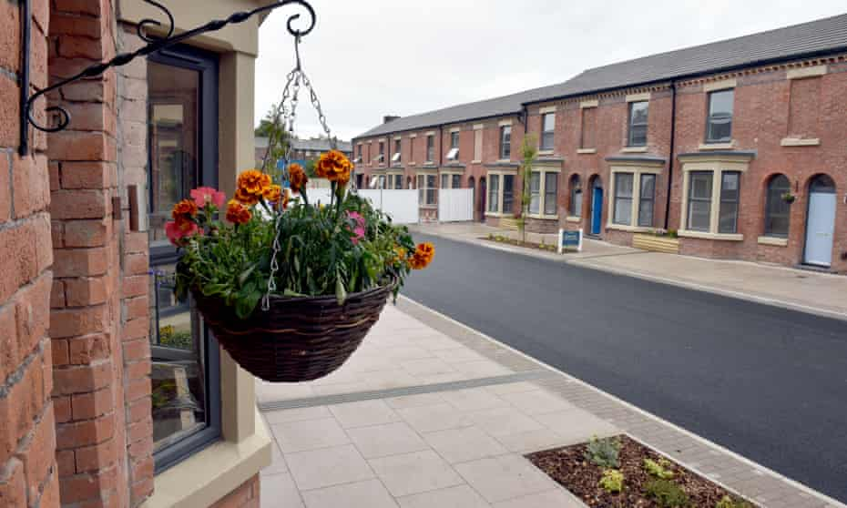 Phase one of the newly refurbished Welsh Streets in Liverpool, with new paving and street planting.