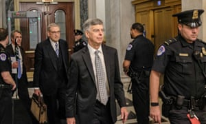 Bill Taylor leaves Capitol Hill on October 22 after testifying before house committees.