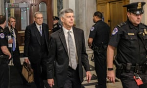 Bill Taylor, the acting ambassador to Kyiv, leaves Capitol Hill on 22 October 2019 after giving his testimony to impeachment inquiry hearings.