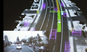Video captured by a Google self-driving car coupled with the same street scene as the data is visualized by the car.