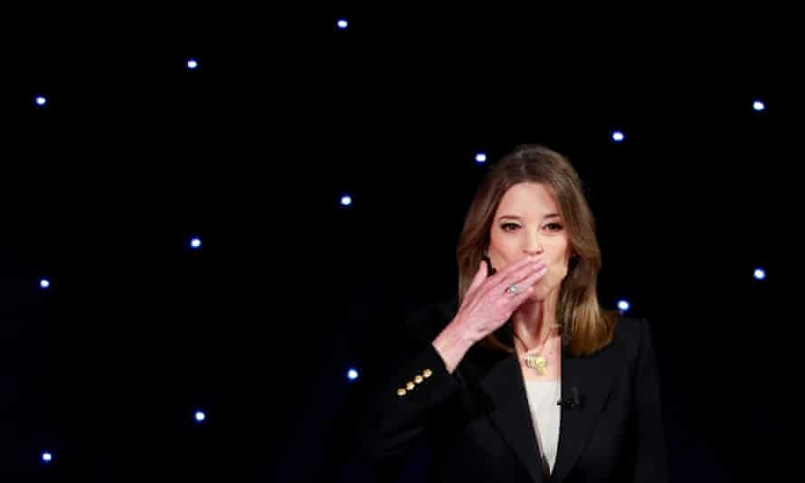 Marianne Williamson blows a kiss before the first night of the second 2020 Democratic presidential debate, in July.
