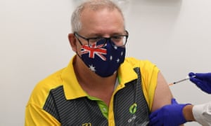 Prime minister Scott Morrison receives his Covid-19 vaccination on Sunday.