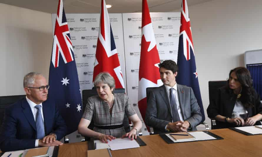 From left: Australian prime minister Malcolm Turnbull, Theresa May, Canadian PM Justin Trudeau and New Zealand PM Jacinda Ardern.