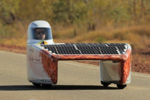 The Vattenfall Solar Team car, Nuna, from the Netherlands competes in the challenger class on day two
