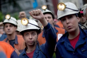 Spanish miners attend a union-organised strike.