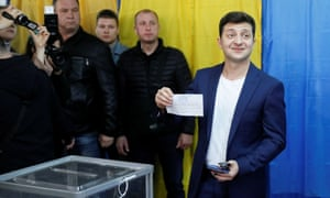 Volodymyr Zelenskiy visits a polling station in Kyiv during the second round of the presidential election
