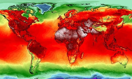 A global heat map shows how temperatures are soaring across the planet during the summer of 2018.