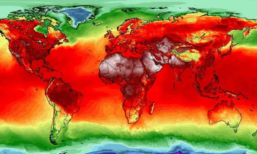 A heat map showing how temperatures are soaring across the planet