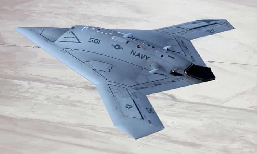 The US X-47B unmanned autonomous aircraft.