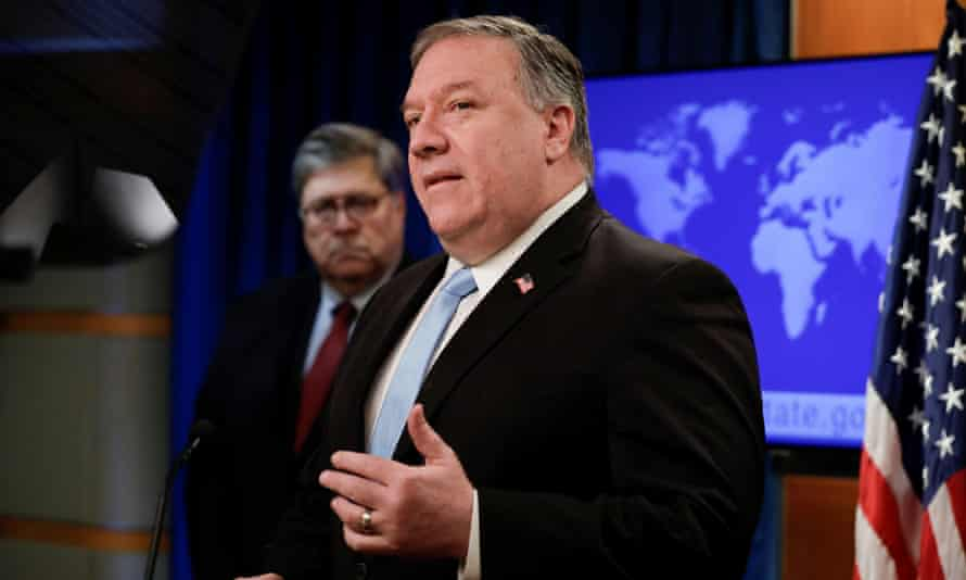 Mike Pompeo and William Barr at a press conference Thursday.