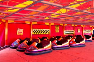 May 2020: locked dodgem cars are seen at a deserted funfair on Bridlington seafront