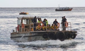 A boat carrying asylum seekers to Australia