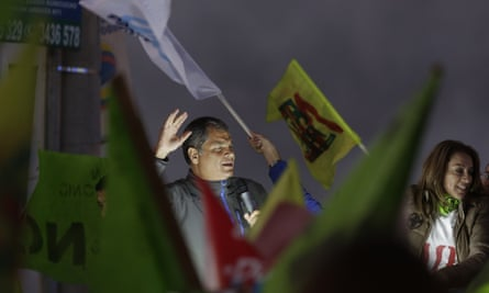 Ecuador's former president Rafael Correa leads a rally on Monday in Rumicucho, Ecuador, against an upcoming constitutional referendum.