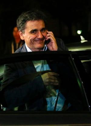 Greek Finance minister Euclid Tsakalotos leaves tonight's Eurogroup meeting.
