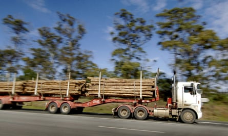 A logging truck in Launceston in northern Tasmania.