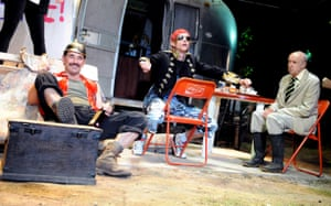 Mark Rylance, Mackenzie Crook and Alan David in Jerusalem by Jez Butterworth, directed by Ian Rickson in 2009.