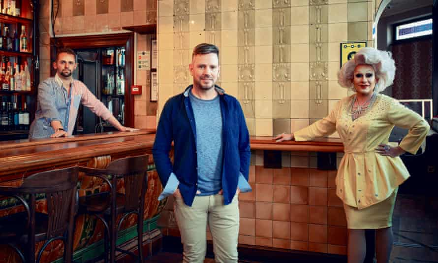 The Golden Cross pub in Cardiff, Wales' oldest LGBT venue. (L-R) Evan Perkins, Rob Burnett, Baroness Mary Golds
