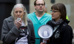 Vanessa Redgrave addressed a protest outside the Department for Health.