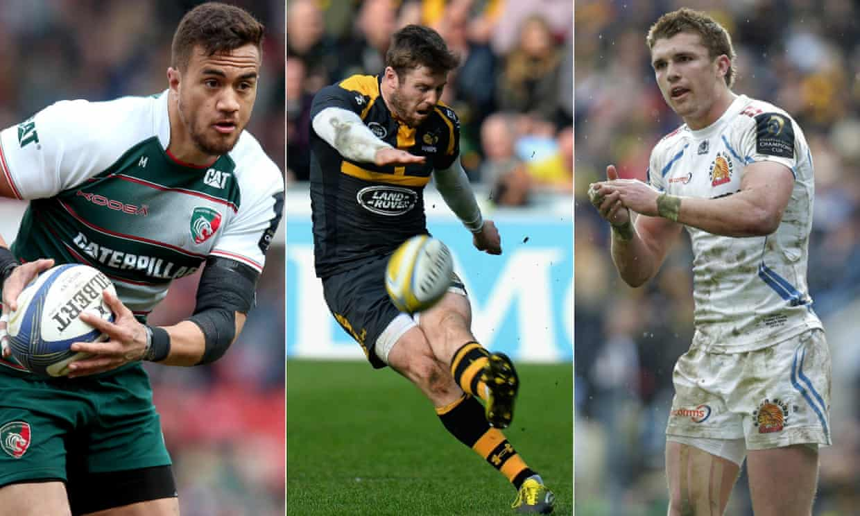 Leicester's Peter Betham, Wasps' Elliot Daly, and Henry Slade of Exeter.