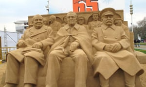 'There's still very much a sense that serious history is written by men' ... a Russian sand sculpture of Churchill, Roosevelt and Stalin at Yalta.