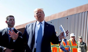 Trump visits a section of the US-Mexico border wall in Otay Mesa on 18 September.
