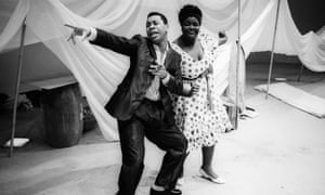 Roger Griffiths (Rudolph Dawson) and Sharon D Clarke (Dolores Hope) in O Babylon! The Musical by Derek Walcott. A Talawa production, directed by Yvonne Brewster in 1988.
