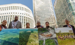 A delegation from Colombia, Indonesia, Liberia and Peru on a tour of Europe this month. Two members presented a letter and report to the London Stock Exchange urging that a cacao company in Peru be banned from trading.