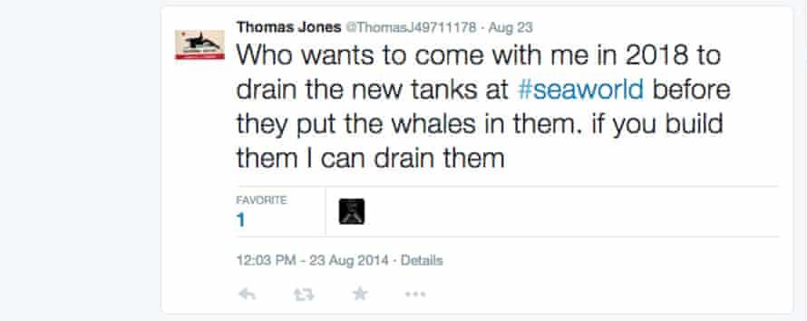 Tweets by activist Thomas Jones, who is allegedly Paul McComb, a SeaWorld employee.