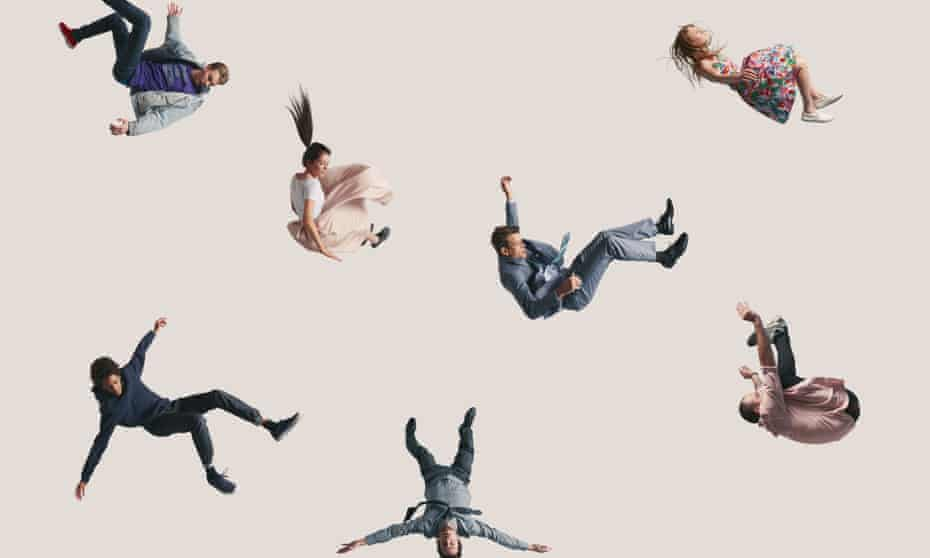 Group of young people in the air