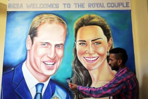 Indian artist Jagjot Singh Rubal paints a mural in Amritsar to welcome the Royal couple to India.