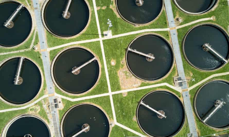 An aerial view of clarifying tanks in a north London sewage farm.