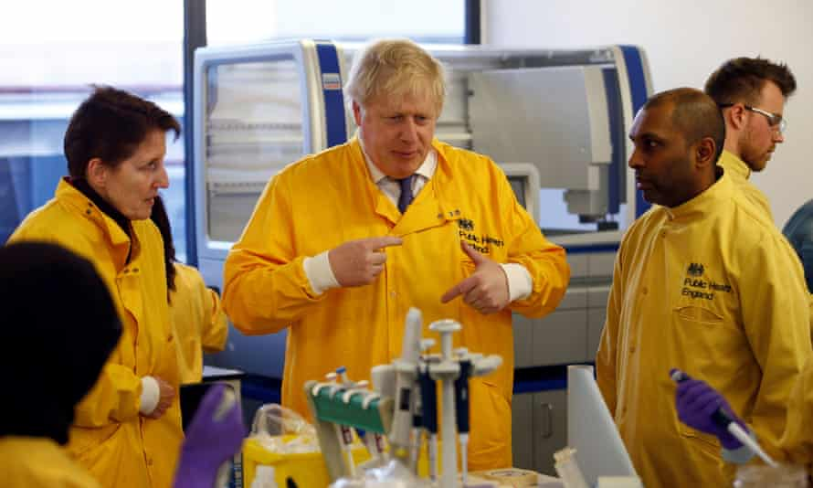 Boris Johnson at the Public Health England National Infection Service in Colindale, March 2020