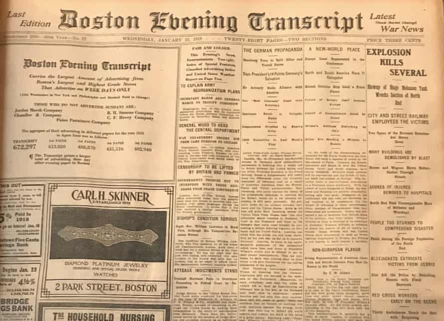 A daily newspaper in Boston reports on the flood, circa 1919.
