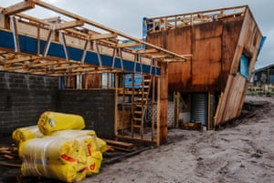 Construction site at The Cape, a sustainable residential development in Cape Paterson, Victoria.