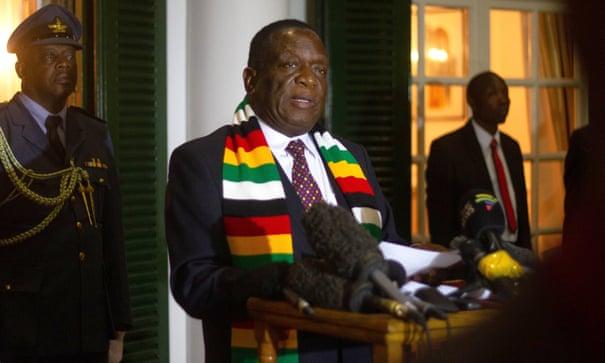 Emmerson Mnangagwa holds a press following the death of Robert Mugabe