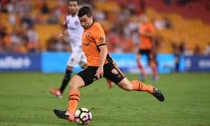 Tommy Oar takes a shot at goal for Brisbane Roar against Western Sydney Wanderers
