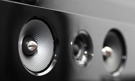 Close up of a generic black soundbar